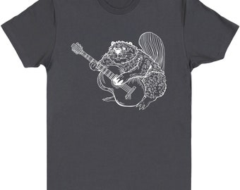 Beaver Playing Guitar T-Shirt Men's Cotton Short Sleeve Crew Neck Guitar Shirt Guitar tshirt Guitar Tee Beaver Tee Band Tee Rock SEEMBO