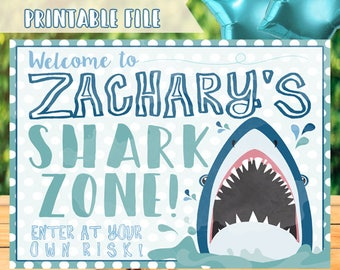 Shark Birthday Sign, Shark Party Sign, Shark Party Decorations, Shark Welcome Sign, Shark Zone Sign, Shark Decorations, Shark Printables