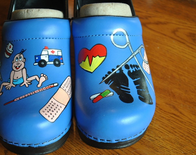 Custom Hand Painted Cobalt blue nurses shoes for ped nurse.  I love you guys -sorry sold please note this price does not include the shoes