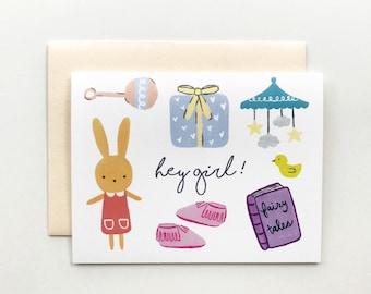 Hey Girl! - Baby Shower Card