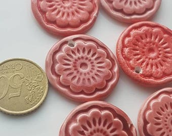 Handmade ceramic charm, ceramic pandant, PERSIAN INSPIRATION