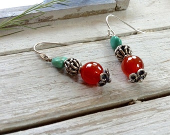 Turquoise And Carnelian Boho Sterling Silver Earrings