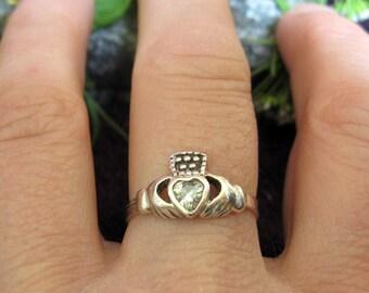 Sterling Silver C/Z Claddagh Ring