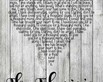 Wedding Vow Art, Wedding Anniversary Gifts, Wedding Gift Song Lyrics Art, Personalized, First Dance, Our Song Art