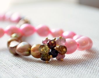 Pink Pearl Necklace, Beaded Jewelry, Tourmaline Gemstone, Copper Brown and Candy Pink Freshwater Pearls, Bridal, Free Shipping