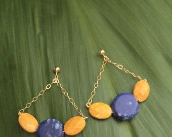 Spring Fan Dangle Gold Filled Earrings