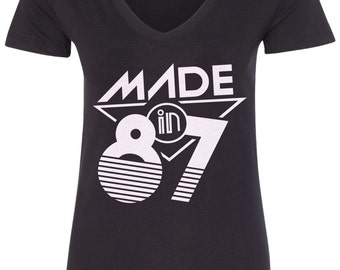 Made in 1987 Women's V-Neck Fitted T-Shirt 30th Birthday Party Born In '87 - TA_00400