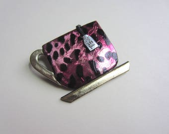 Teacup with tea bag brooch pin in pink and black leopard print brooch