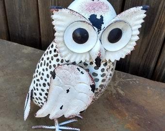 "Rustic White Ivory Owl Metal Sculpture Garden Art Yard Statue - Large 12"""