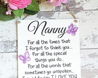 Nanny gift, Mothers Day Gift, gifts for nanny, Nanny sign , Nanny Birthday gift, grandmother, gift for her, Gifts for Grandma, Nan gift