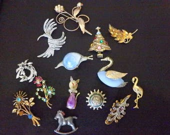 lot of 14 vintage brooches pins that need work jelly bellies rhinestones etc