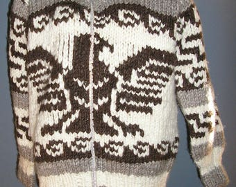 Vintage, cowichan, wool, sweater, zip front, cardigan, heavyweight, eagle, made in Canada, size large, big Lebowski, MINT
