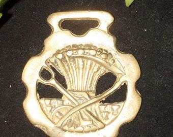 Vintage or Antique Wheat Sheaf Horse Brass  - For Luck - Folk Magic, British, Pagan, Lammas, Mabon