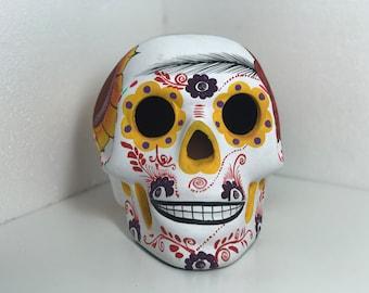 Sugar Skull Matte Painted Sculpture