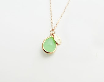 Sea Green Teardrop Pendant Charm Necklace with Leaf - 14k Gold Filled Chain or Satin Hamilton Gold Plated Brass Chain