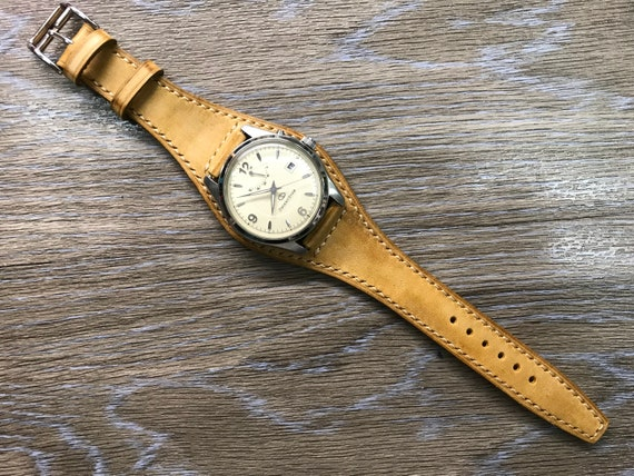 Leather Watch Band, Full bund strap, Leather cuff strap, Cuff Band, Vintage Beige Leather watch Strap, 20mm watch band, FREE SHIPPING