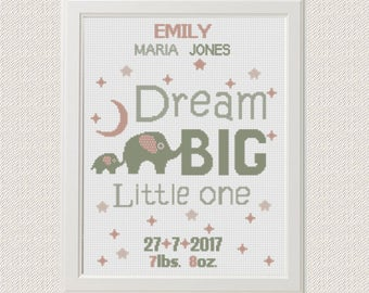 baby cross stitch pattern elephants Birth announcement Dream big little one baby sampler new baby girl birthday Nursery decor wall art