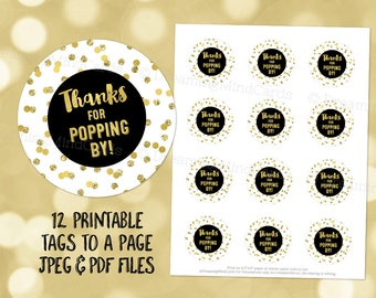 Printable Thanks for Popping By Favor Tags Black Gold Glitter Confetti for Baby Shower Popcorn Instant Digital Download