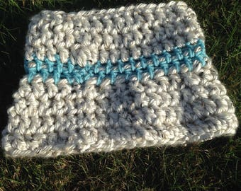 Blue and gray cozy cowl