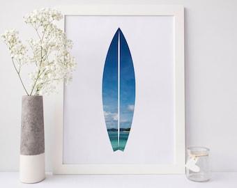Surfboard Print, Surfboard Wall Art, Tropical Print, Wall Art Prints, Beach House Decor Printable Art Beach Prints Beach Surfer Print