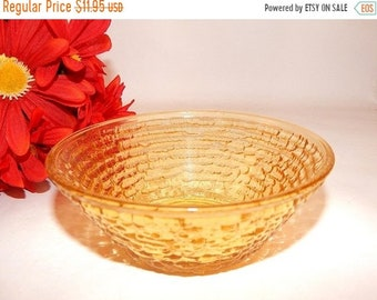 Amber Glass Bowl Anchor Hocking   Soreno Gold Pattern Ice Cream Dish Berry Bowl Cereal Bowl Vintage 1960s Collectible Tableware