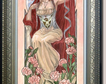 Original Art 10x20 Watercolor Painting Lady of January Art Nouveau Birthstone Birthflower Series with Carnations, Snowdrops, and Veil