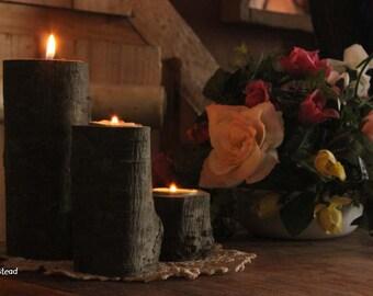 Log Candles Rustic Wedding / Cabin End Decor Table Center Piece Primitive Home Farmhouse Coffee