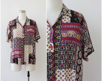 1980s Rayon Boho Blouse Button Front Ethnic Paisley Patchwork Print Multicolored Top Boho Top