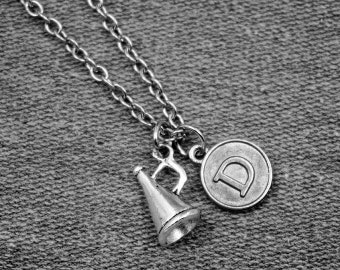 Silver Trumpet Necklace -Cheerleaders Necklace -Initial Charm Necklace -Your Choice of A to Z