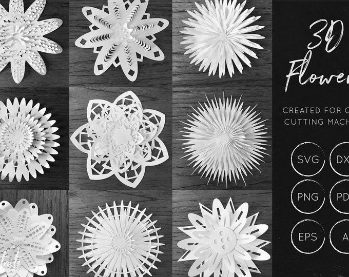 3D Flowers SVG Bundle