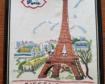 Vintage Hand made embroidered picture of Eiffel Tower in Paris with black frame
