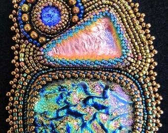 Beaded dichroic glass pendant