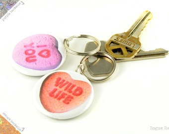 Conversation Heart Keychain - Candy Heart Glitter Key Chain - Sparkly Sweetheart Keyring - I Heart You - Wild Life - Pastel Orange Heart