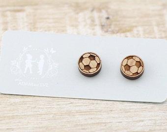 Wood Soccer Ball - Football Earrings - Laser Cut Stud Earrings - Coach Gift - Australian Seller