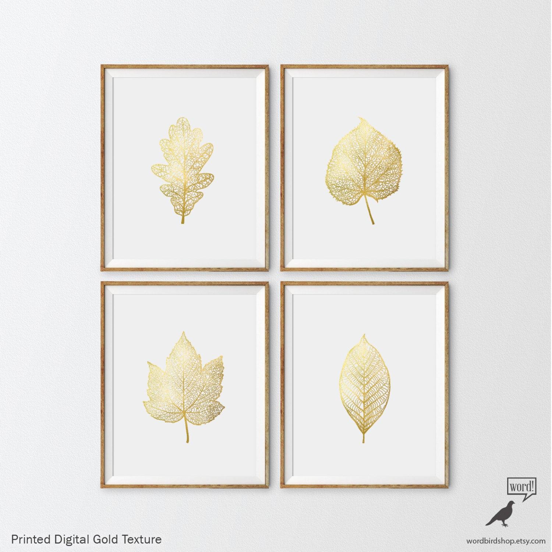 Matte Gold Foliage Prints 4 Set Botanical Prints Nursery Art