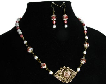 Glamorous Vintage Modern White and Pink Hand Crafted Artisan Beaded Necklace and Earrings By SoniaMcD
