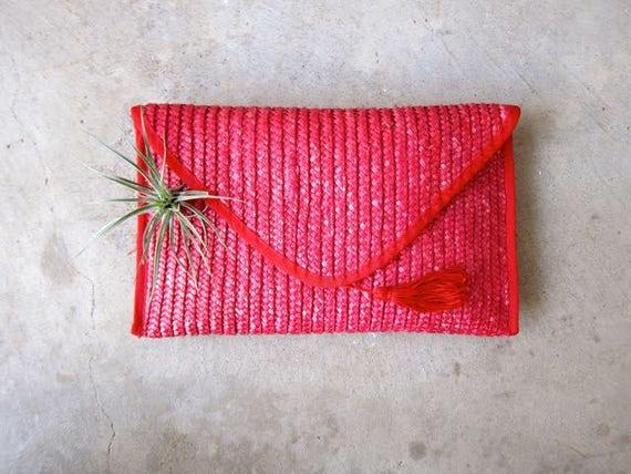 Pink Woven Purse Nantucket Wicker Clutch Minimal Natural Beach Handbag Purse 80s Weave Purse Preppy Boho Hippie Summer Bag Envelope Clutch