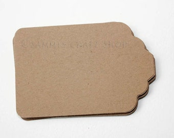 50 Brown Kraft Die Cut Tags, Large Kraft Tags, Merchandise Tags, Blank Tags, Favor Tags, Gift Tags, Hang Tag, Price Tag