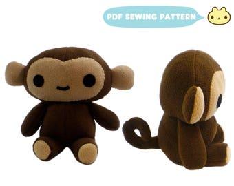 Plush Pattern, Stuffed Animal Patterns, Monkey Soft Toy, Monkey Pattern, Safari Animal, Jungle Animal, Monkey Toy DIY, Stuffed Monkey Toy