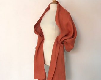 orange linen wrap shawl ready to wear / long linen shawl / long linen scarf / orange linen /ready to ship / linen wrap
