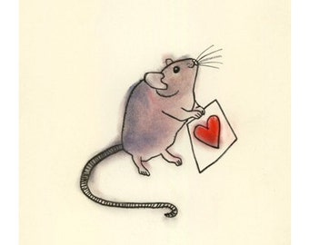Valentine mouse art illustration   A Little Love -  4 X 6 print - 4 for 3 SALE