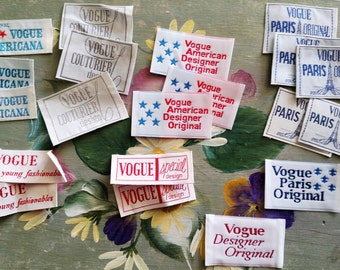 Original-Fabric Sew-In-Vogue DESIGNER LABELS-High Fashion Garment Label-Embroidered-Vintage Garment Tag-Save 20% with Purchase of 3 or >