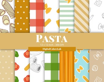 Seamless Pasta food, pettern decor, digital paper, food backdrops, food photography