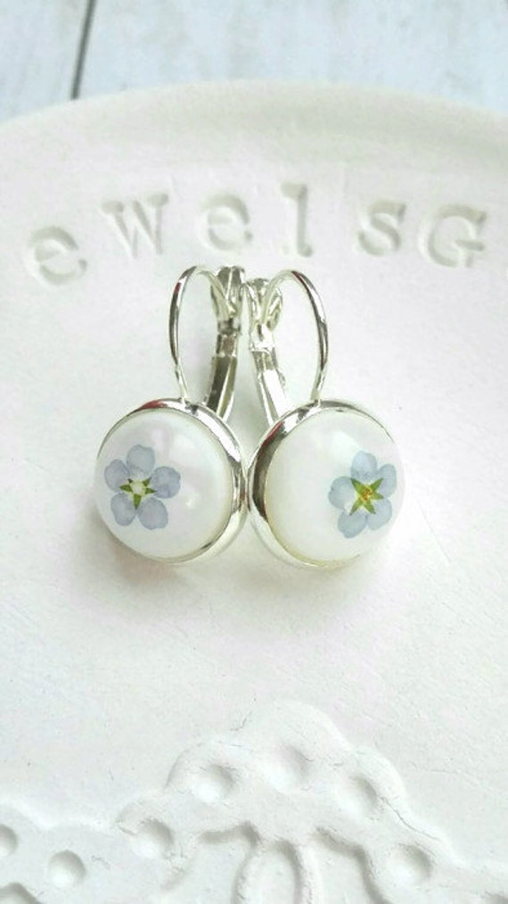 Sterling silver earrings Distance gifts Pressed flower dangle earrings Unique blue Resin wedding jewelry Forget me not romantic fine jewelry