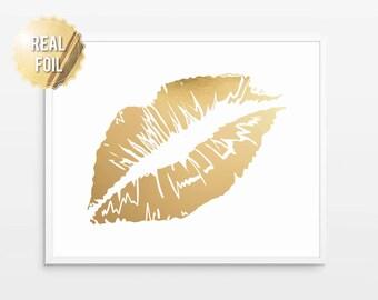 Gold Lips Print, Poster - Real Gold Foil Art - Vanity Art, Wall Decor, Glam Wall Art, Gold Wall Decor, Fashion Wall Art, Gold Kiss Lipstick