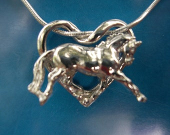 Horse Jewelry Gift Floating horse heart sterling silver pendant and chain dressage horse jewelry