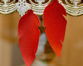Red feather leather earrings- FREE SHIPPING