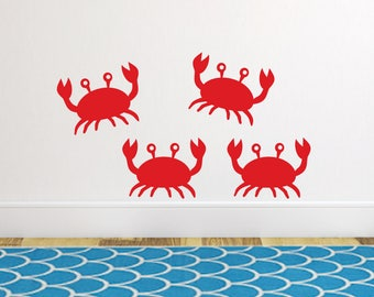 Crab wall sticker decals, Bathroom wall decals, Ocean wall decals, Kids bathroom wall decor, Sea wall decals, Ocean wall decor DB228