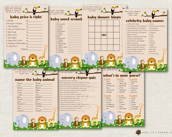 Safari Baby Shower Games - Jungle Baby Shower Games, Baby Shower Game, Baby Animal Baby Shower Games, Zoo Animal Baby Shower Games - DIY