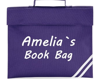 Personalised Book Bag with name Girls/Boys/Childrens School Bag 8 Colours Available